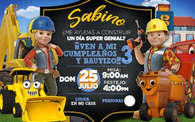 Invitación Infantil Bob Constructor